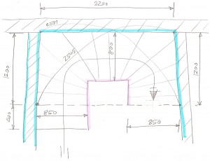 sketch of the stair well dimensions