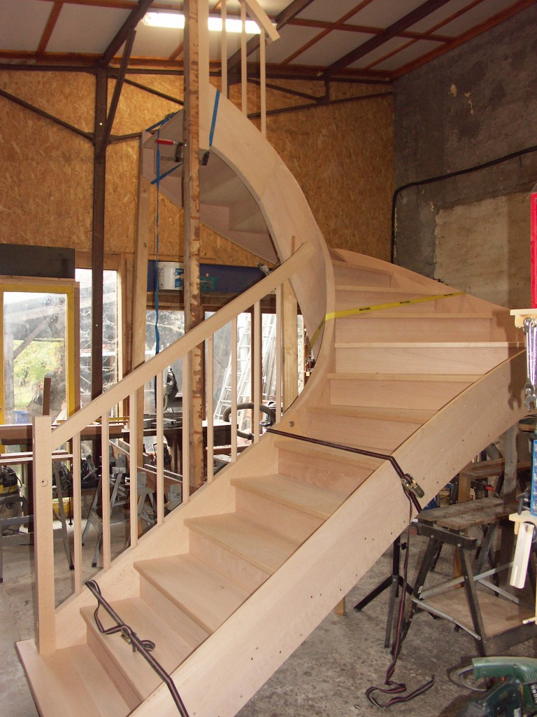 Stairs assembled in the workshop