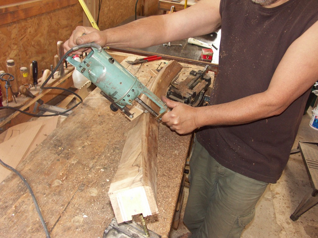 Shaping the hand rail with portable shaper