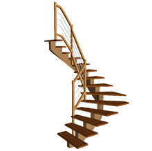 Half Turn Straight Central Cut String stair