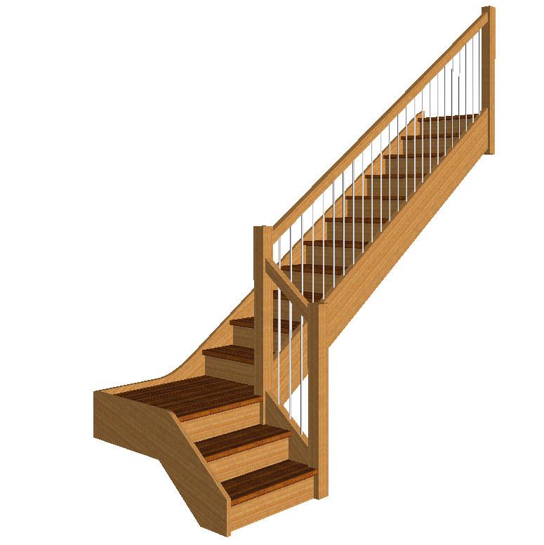 Stair models stair 3d models wood designer for Quarter landing staircase