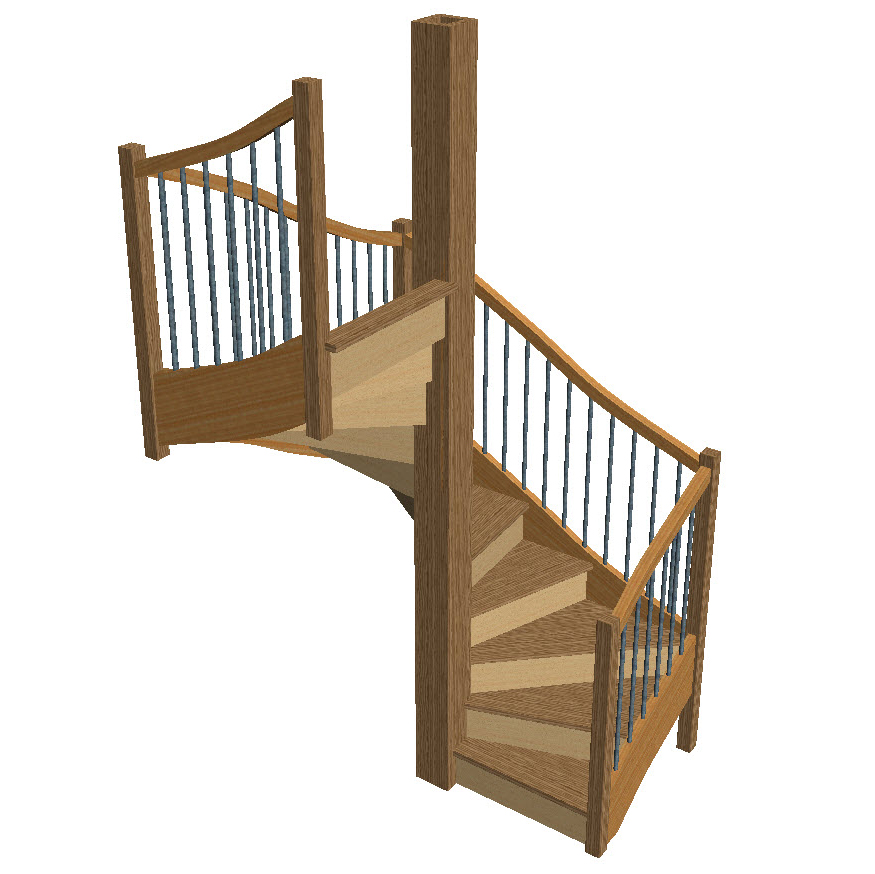 Stair models stair 3d models wood designer for Square spiral staircase plans hall