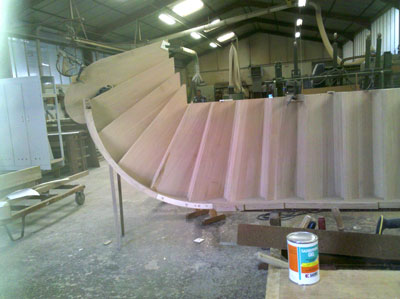 assembled stair in workshop
