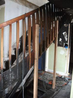 burnt stair to be replaced