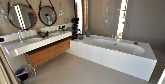 corian bathroom using Polyboard and OptiCut