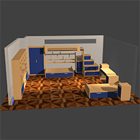 Polyboard bedroom model