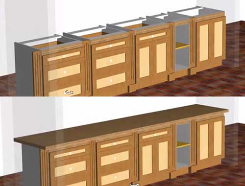 worktops across multiple cabinets