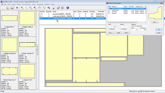 OptiNest software showing parts nested ready for cutting and machining