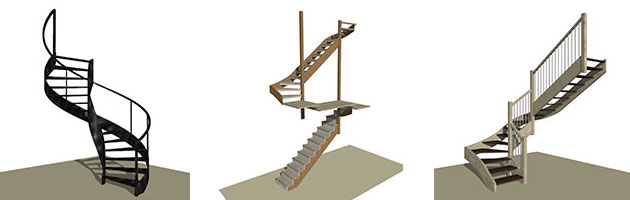 3D stair designs in StairDesigner
