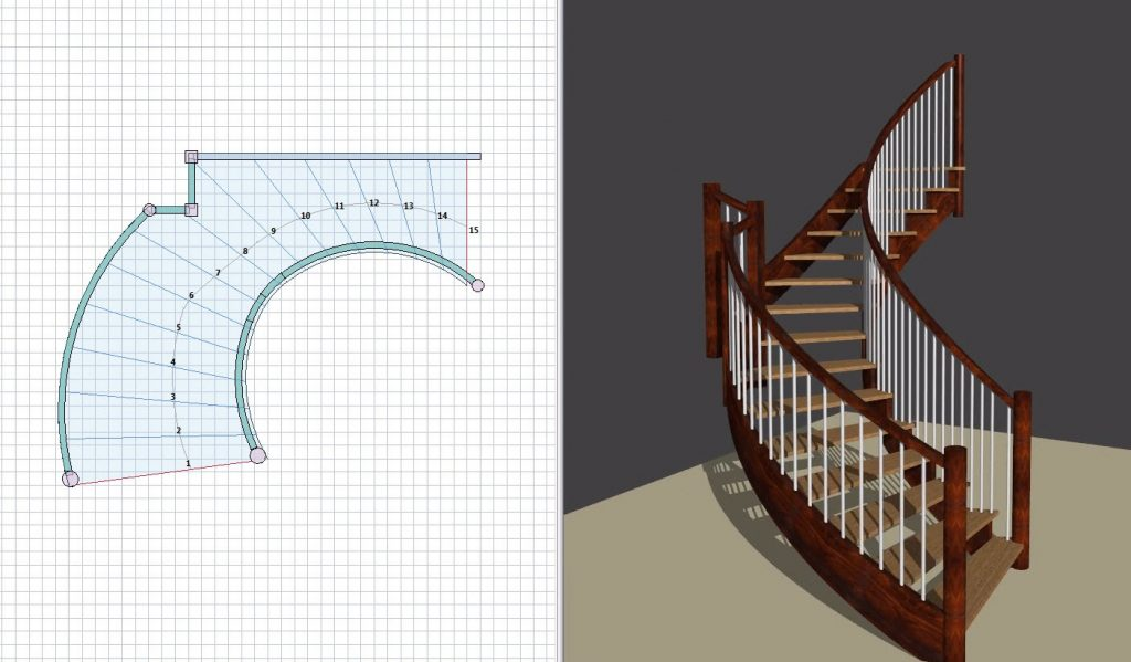 Combined image of a blue print and a staircase