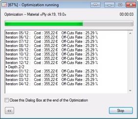 opticut cutting optimization running