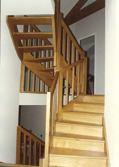 This tight fitting stair in a complex stairwell also had to be planned out well in advance