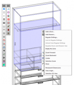 A screen shot of Polyboard being used to design a cabinet