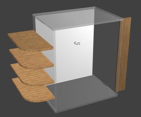 shelving using side external zones in polyboard