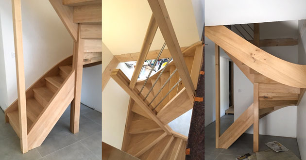 finished oak stair manufactured on cnc