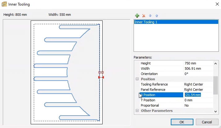 Position inner tooling in Polyboard