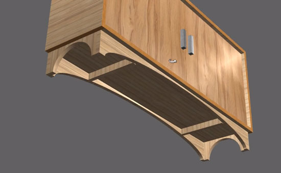 plinth with curved tooling and batons in Polyboard