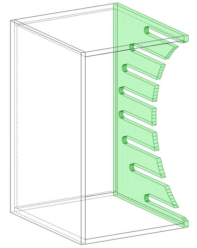 Inner tooling applied to cabinet