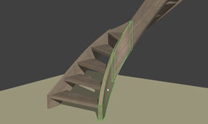 curved stringboard in stairdesigner 3d view
