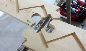 puzzle joint assembly for stair stringer