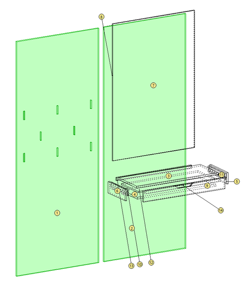 Coat rack in Cabinet Mode showing toolings for hook hardware