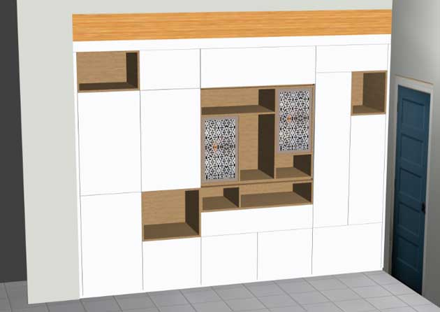 fitted shelving unit in polyboard