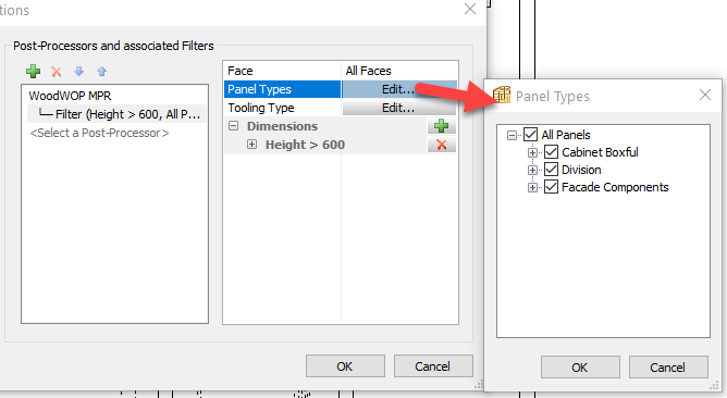 polyboard post processor filter panel types